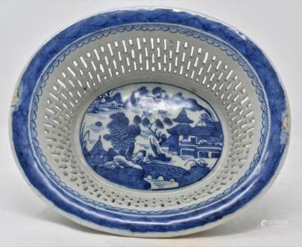 Qing Dynasty Blue & White Porcelain Fruit Basket