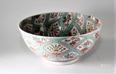 Large Chinese Export Multicolored Porcelain Bowl