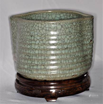 Chinese Song Dynasty Guan Type Crackle Glazed Ceramic Vessel