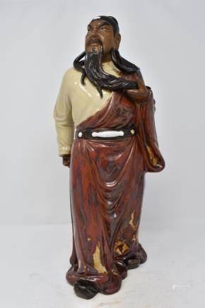 Chinese Flambe Red Glaze Porcelain Pottery Guan gong Guan Yu warrior Statue
