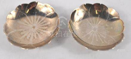 Pair of silver lotus dishes