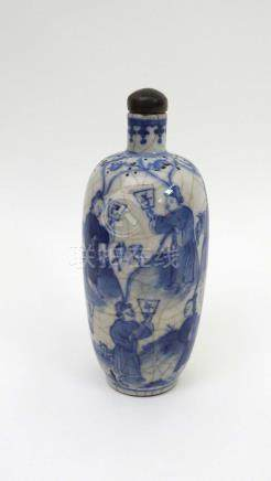 Tabatière porcelaine blanc bleu. Bouchon œil de tigre. Ca. XIXe. Chine.