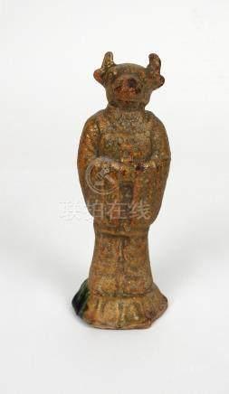 Statuette anthropomorphe à tête de buffle. Signe astrologique. Grès à glaçure o