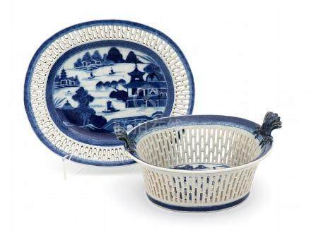 A JIAQING BASKET AND PLATTER