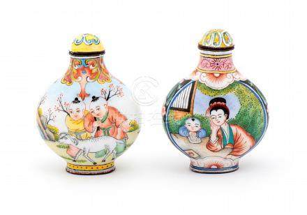 TWO ORIENTAL SNUFF BOTTLES