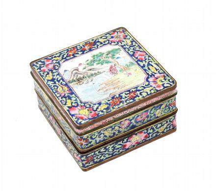 A CHINESE ENAMEL TRIPLE BOX