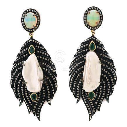Pair of Biwa Cultured Pearl, Multi-Stone, Diamond,