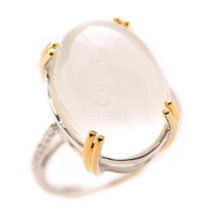 Cat's Eye Moonstone, Diamond, 14k Gold Ring.
