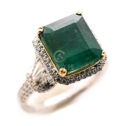 Emerald, Diamond, 18k Gold Ring.