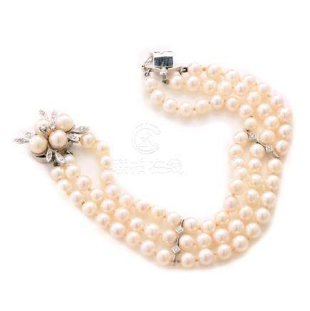 Cultured Pearl, Diamond, 14k White Gold Bracelet.