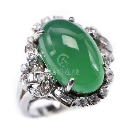 Jade, Diamond, Palladium Ring.