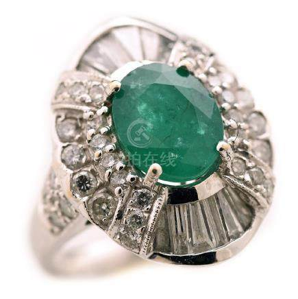 Emerald, Diamond, 18k White Gold Ring.
