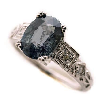 Green Sapphire, Diamond, Platinum Ring.