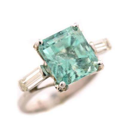Green Beryl, Diamond, Platinum, 18k White Gold Ring.
