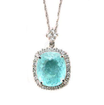 Tourmaline, Diamond, Platinum Pendant Necklace.