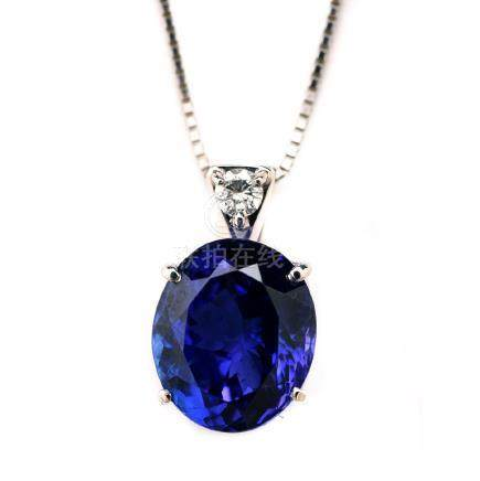 Tanzanite, Diamond, Platinum Necklace.