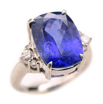 Tanzanite, Diamond, Platinum Ring.
