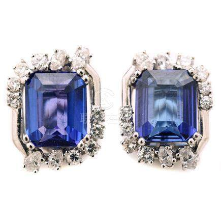Pair of Tanzanite, Diamond, 14k White Gold Earrings.
