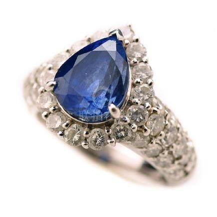 Sapphire, Diamond, Platinum Ring.