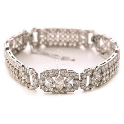 Waslikoff & Sons Art Deco Diamond, Platinum Bracelet.
