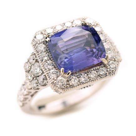Color Change Sapphire, Diamond, 14k White Gold Ring.