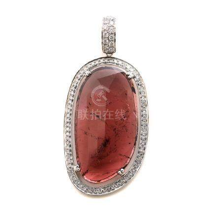 Pink Tourmaline, Diamond, 18k White Gold Pendant