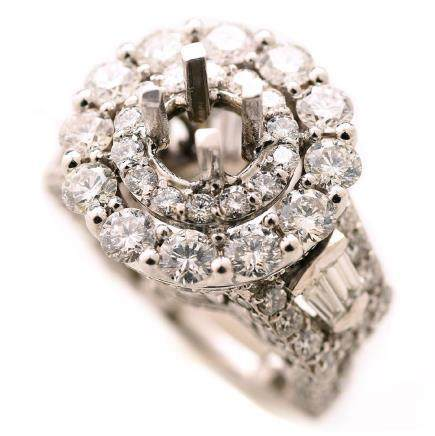 Diamond, 18k White Gold Ring Semi-Mounting.