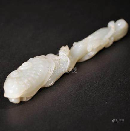 A CARVED WHITE JADE RUYI SCEPTER ,QING DYNASTY