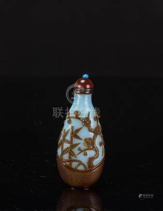 Qing -A Red and Brown overlay Blue Glass Snuff Bottle