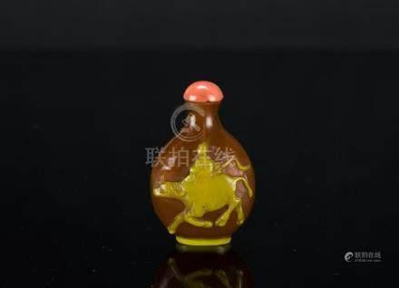 Qing-Yellowish Brown Glass Snuff Bottle