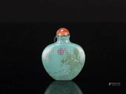 Qing- A Turquoise Color Glass Snuff Bottle '