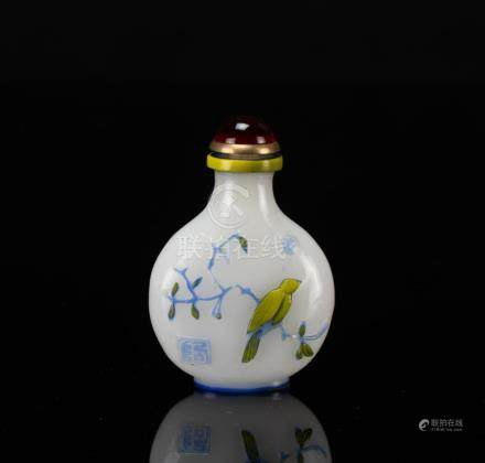 Qing-A Two Color Overlay White Glass Snuff Bottle