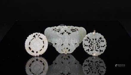 Late Qing/Republic-A Group Of Three White Jade Carved Butter
