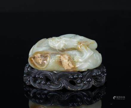 Qing-A White Jade Carved 'Chilung And Wave' With Wood Stand