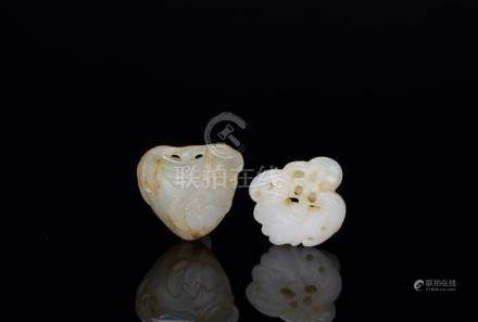 Qing-A Two White Jade Carved 'Bat and Peach' Pendant