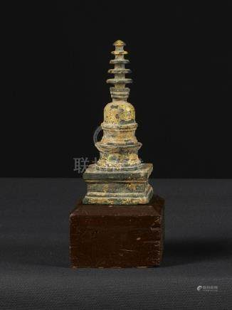 A Nice Miniture Gandharan Gilded Schist Stupa Reliquary