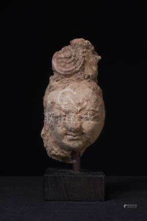A Fine Clay Buddha Head (Hadda)