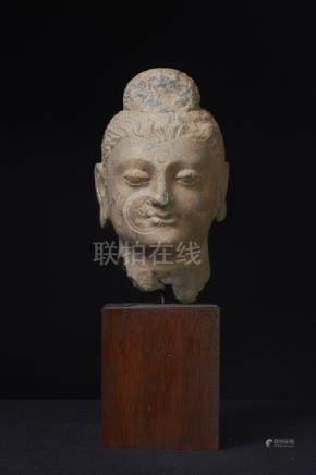 A Nice Gandharan Gilded Schist Buddha Head