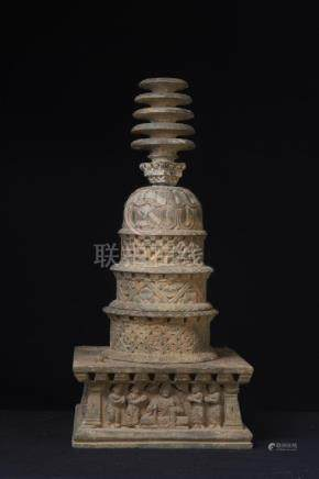 A Large Gandharan Gilded Grey Schist Stupa Reliquary