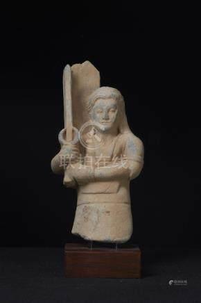 A Very Nice Gandharan Grey Schist Kushan Figure of