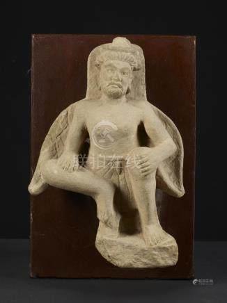 A Nice Gandharan Grey Schist Sculpture of Winged Atlas