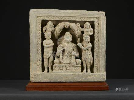 A Nice and Large Gandharan Grey Schist  Panel of