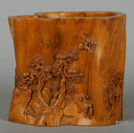CHINESE BOXWOOD CARVED BRUSH POT