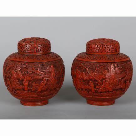 CHINESE CINNABAR LACQUER COVER JARS