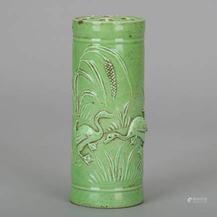 CHINESE GREEN GLAZED PORCELAIN BRUSH POT