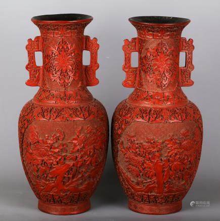 CHINESE CINNABAR LACQUER VASES, PAIR