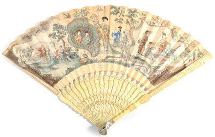 A 1740's Ivory Fan, the monture beautifully carved and pierced, mother-of-pearl thumb guards to both