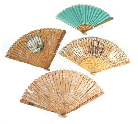 An Early 19th Century Wooden Fan, mounted with a sea green double paper leaf, completely plain