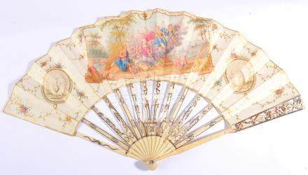 The Judgement of Paris: A Late 18th Century Ivory Fan, probably Dutch, the monture pierced and