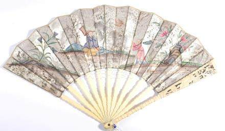 A Mid-18th Century Fan in the Chinoiserie Style, découpé, the single paper leaf in silver and